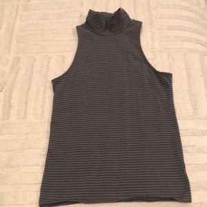 Striped Mock Sleeveless Shirt